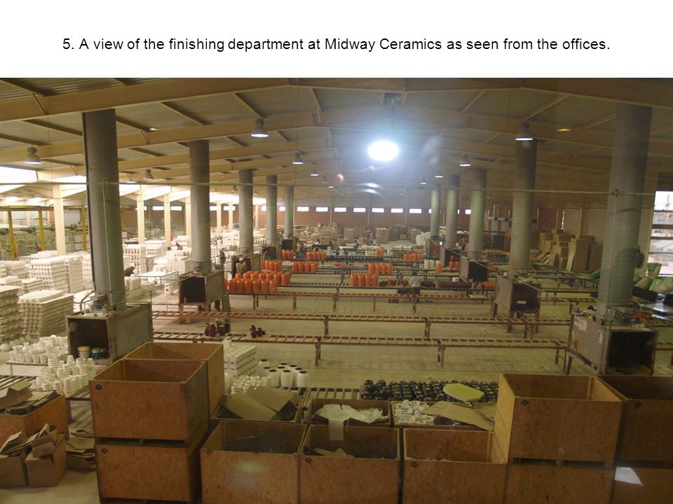 5. A view of the finishing department at Midway Ceramics as seen from the offices.