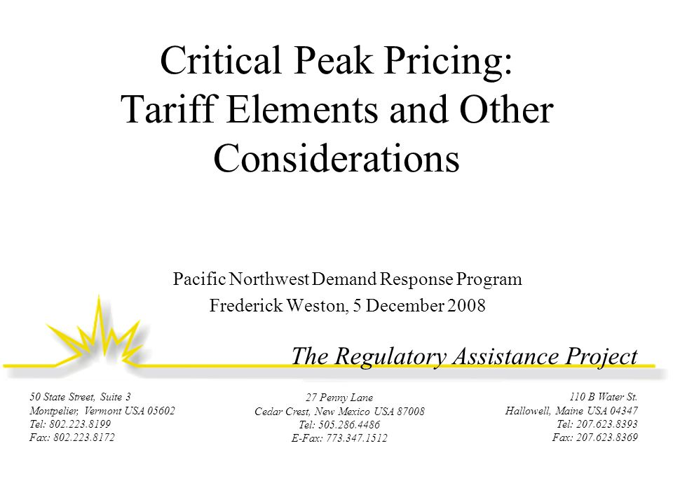 Typical Tariff Elements  Capacity reservation –Option to specify and pay for a maximum amount of demand not subject to CPP charges Priced in $/kW-month  Critical peak events –Triggers: temperature, system constraints –Number, duration –Notification requirements 12