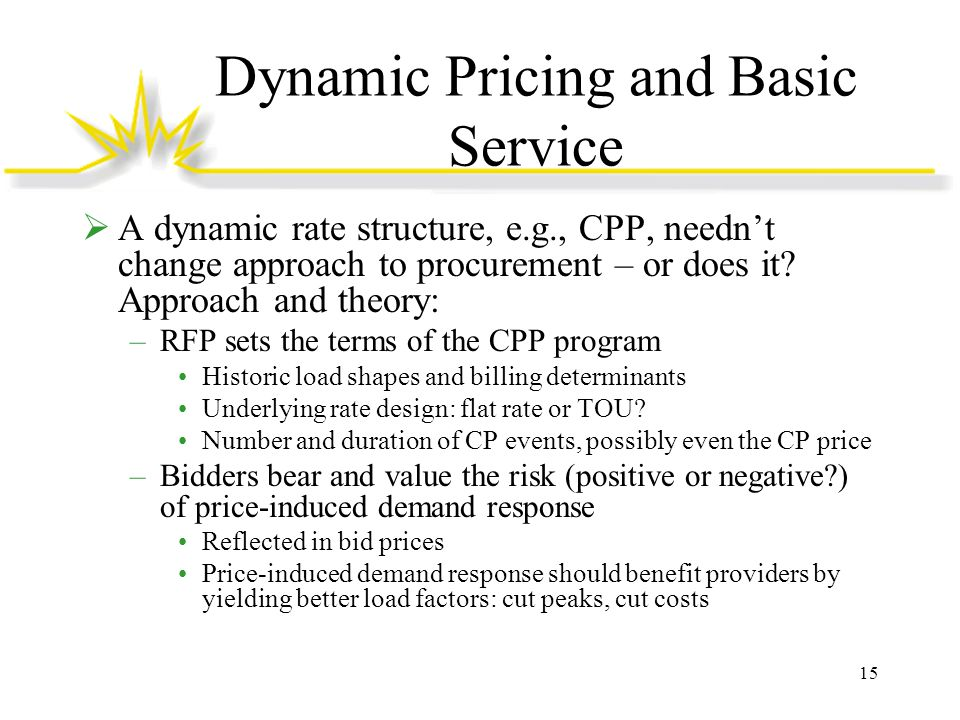 Dynamic Pricing and Basic Service  A dynamic rate structure, e.g., CPP, needn't change approach to procurement – or does it.