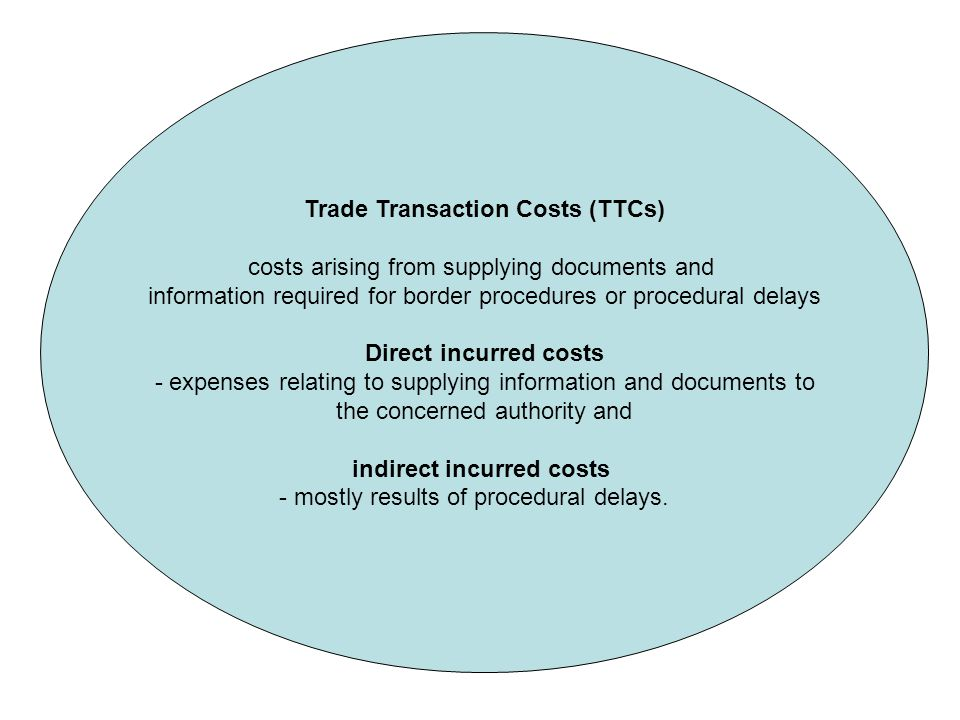 Trade Transaction Costs (TTCs) costs arising from supplying documents and information required for border procedures or procedural delays Direct incurred costs - expenses relating to supplying information and documents to the concerned authority and indirect incurred costs - mostly results of procedural delays.