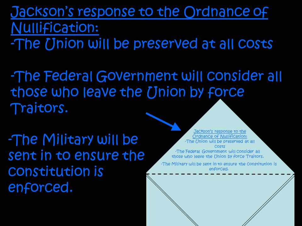 Jackson's response to the Ordnance of Nullification: -The Union will be preserved at all costs -The Federal Government will consider all those who leave the Union by force Traitors.