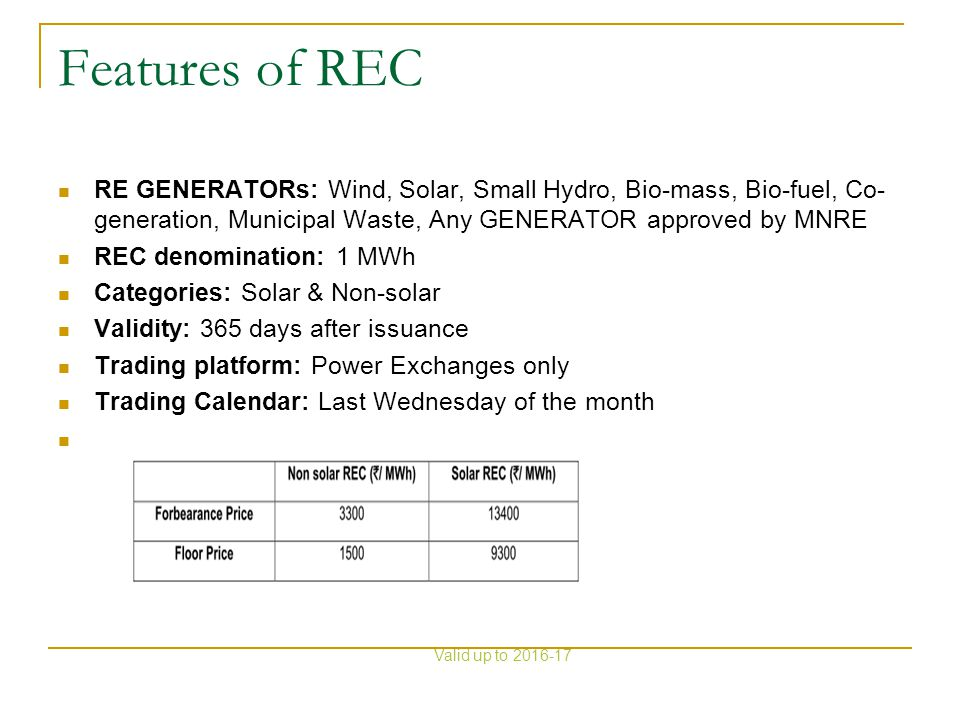 Features of REC RE GENERATORs: Wind, Solar, Small Hydro, Bio-mass, Bio-fuel, Co- generation, Municipal Waste, Any GENERATOR approved by MNRE REC denom