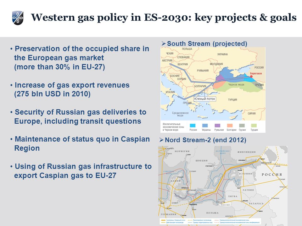 30  Nord Stream-2 (end 2012)  South Stream (projected) Preservation of the occupied share in the European gas market (more than 30% in EU-27) Increase of gas export revenues (275 bln USD in 2010) Security of Russian gas deliveries to Europe, including transit questions Maintenance of status quo in Caspian Region Using of Russian gas infrastructure to export Caspian gas to EU-27 Western gas policy in ES-2030: key projects & goals