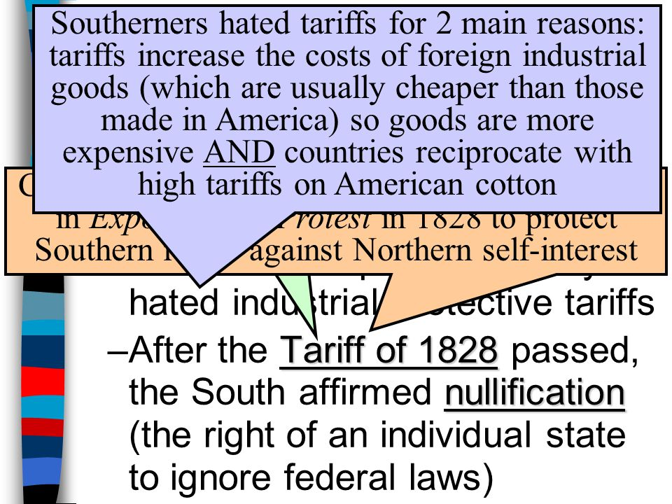 By 1820, the South was anxious about federal powers over states: –VP Calhoun became the defender of states' rights –He wanted to protect slavery & hated industrial protective tariffs Tariff of 1828 nullification –After the Tariff of 1828 passed, the South affirmed nullification (the right of an individual state to ignore federal laws) Tariff of Abominations Calhoun (SC) led the argument for nullification in Exposition & Protest in 1828 to protect Southern rights against Northern self-interest Southerners hated tariffs for 2 main reasons: tariffs increase the costs of foreign industrial goods (which are usually cheaper than those made in America) so goods are more expensive AND countries reciprocate with high tariffs on American cotton