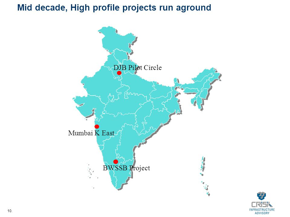 10. Mid decade, High profile projects run aground BWSSB Project DJB Pilot Circle Mumbai K East