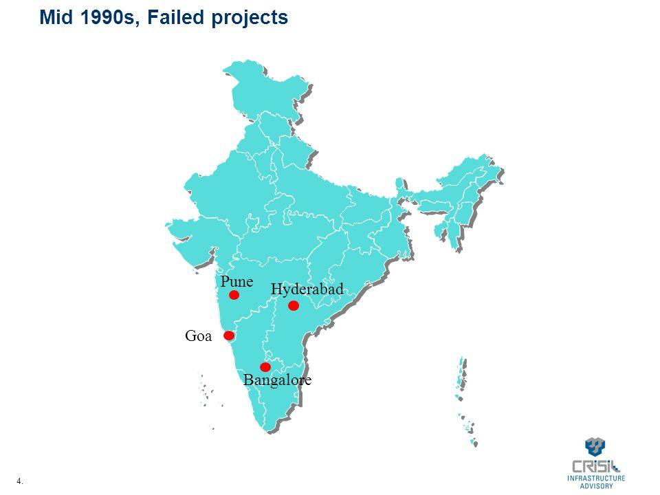 4. Mid 1990s, Failed projects Pune Goa Hyderabad Bangalore