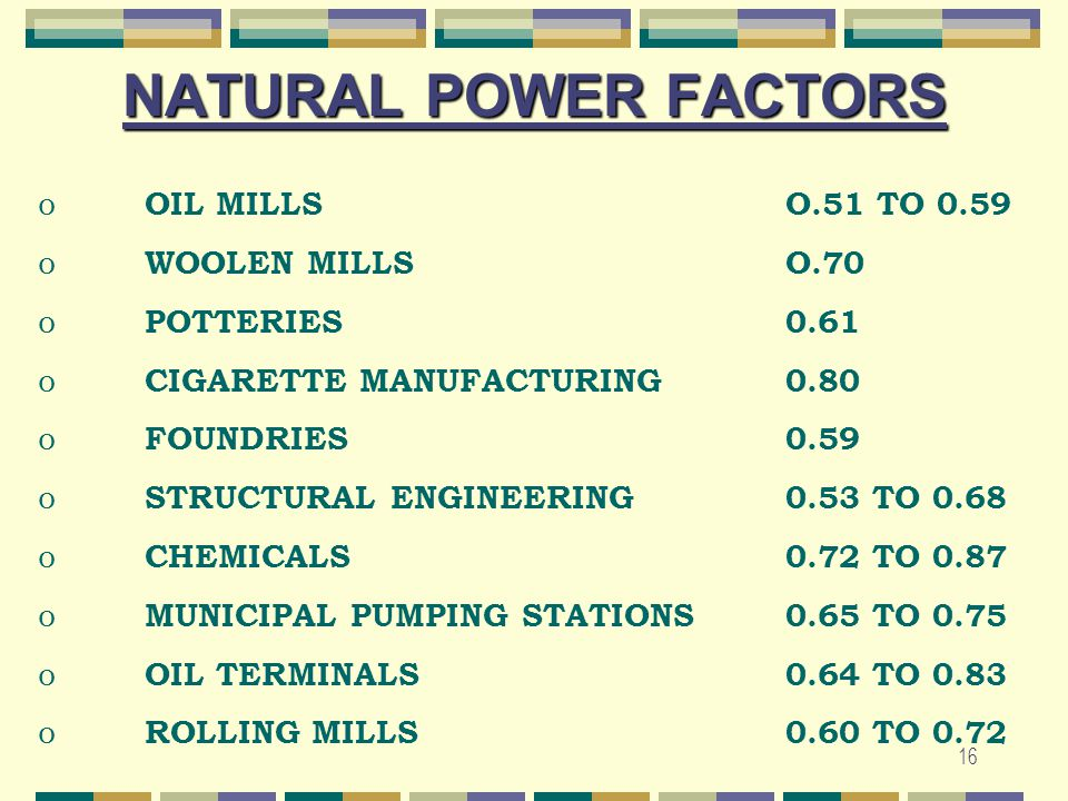 16 NATURAL POWER FACTORS o OIL MILLSO.51 TO 0.59 o WOOLEN MILLSO.70 o POTTERIES0.61 o CIGARETTE MANUFACTURING 0.80 o FOUNDRIES0.59 o STRUCTURAL ENGINE