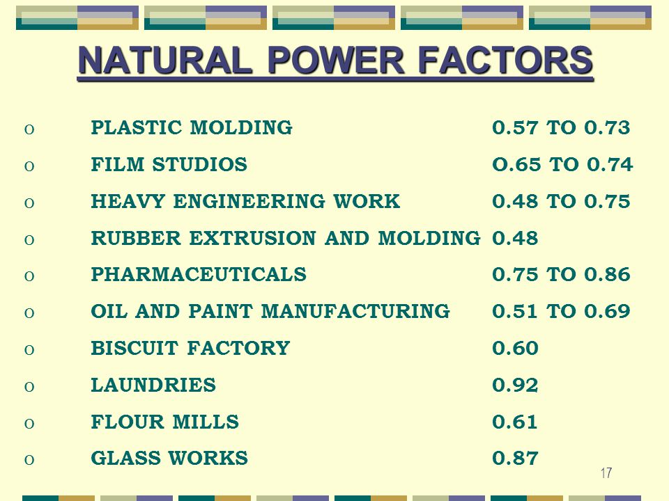 17 NATURAL POWER FACTORS o PLASTIC MOLDING0.57 TO 0.73 o FILM STUDIOSO.65 TO 0.74 o HEAVY ENGINEERING WORK0.48 TO 0.75 o RUBBER EXTRUSION AND MOLDING0