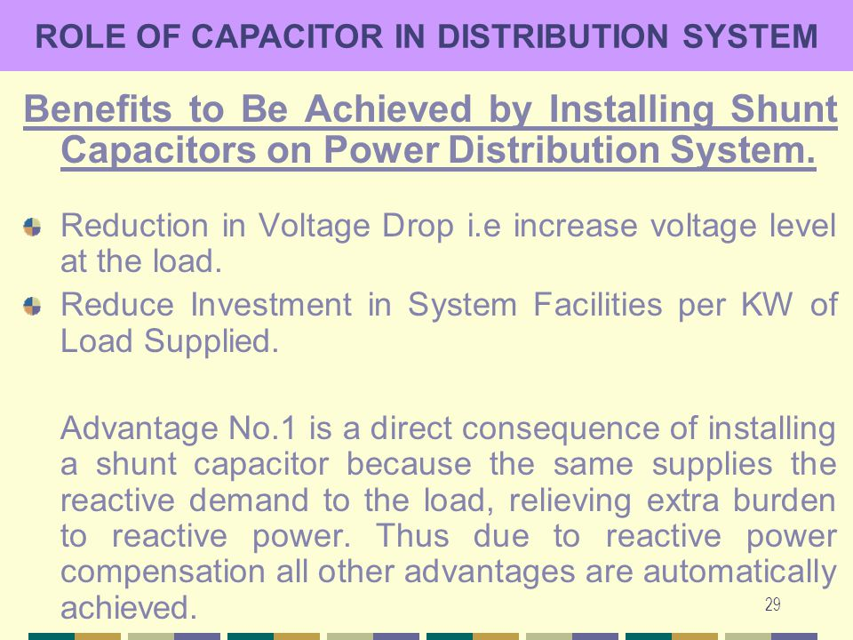 29 ROLE OF CAPACITOR IN DISTRIBUTION SYSTEM Benefits to Be Achieved by Installing Shunt Capacitors on Power Distribution System. Reduction in Voltage