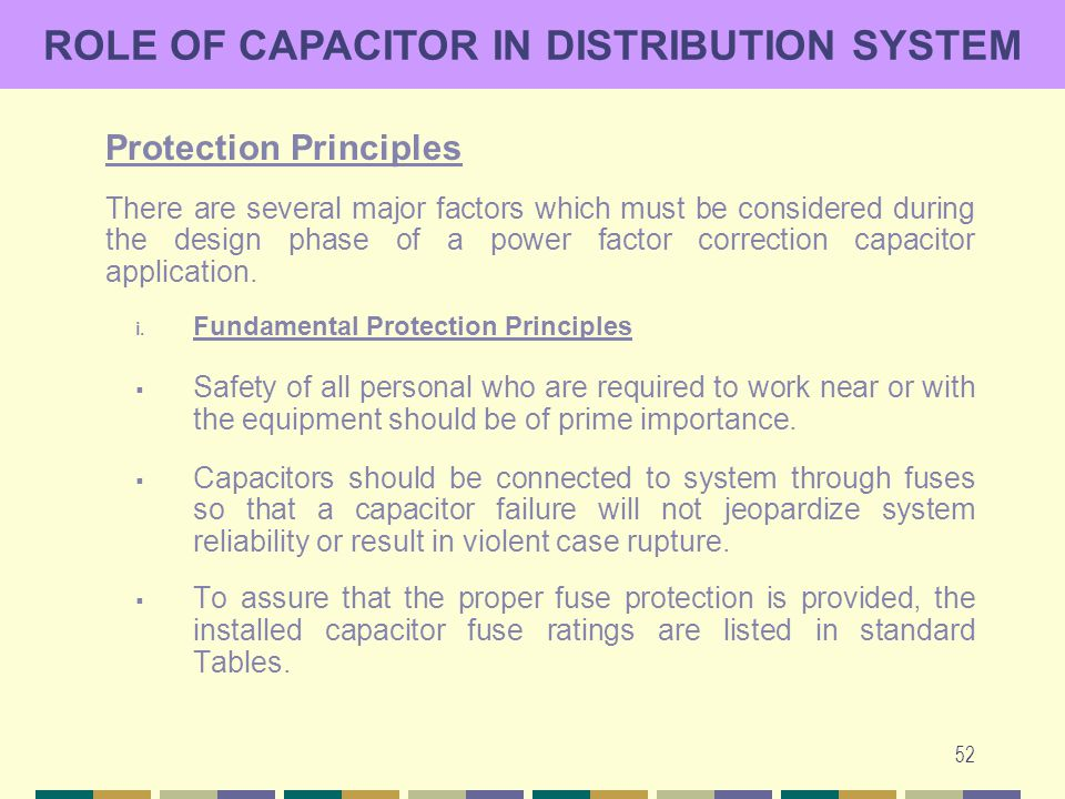 52 ROLE OF CAPACITOR IN DISTRIBUTION SYSTEM Protection Principles There are several major factors which must be considered during the design phase of
