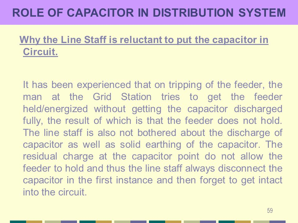 59 ROLE OF CAPACITOR IN DISTRIBUTION SYSTEM Why the Line Staff is reluctant to put the capacitor in Circuit. It has been experienced that on tripping