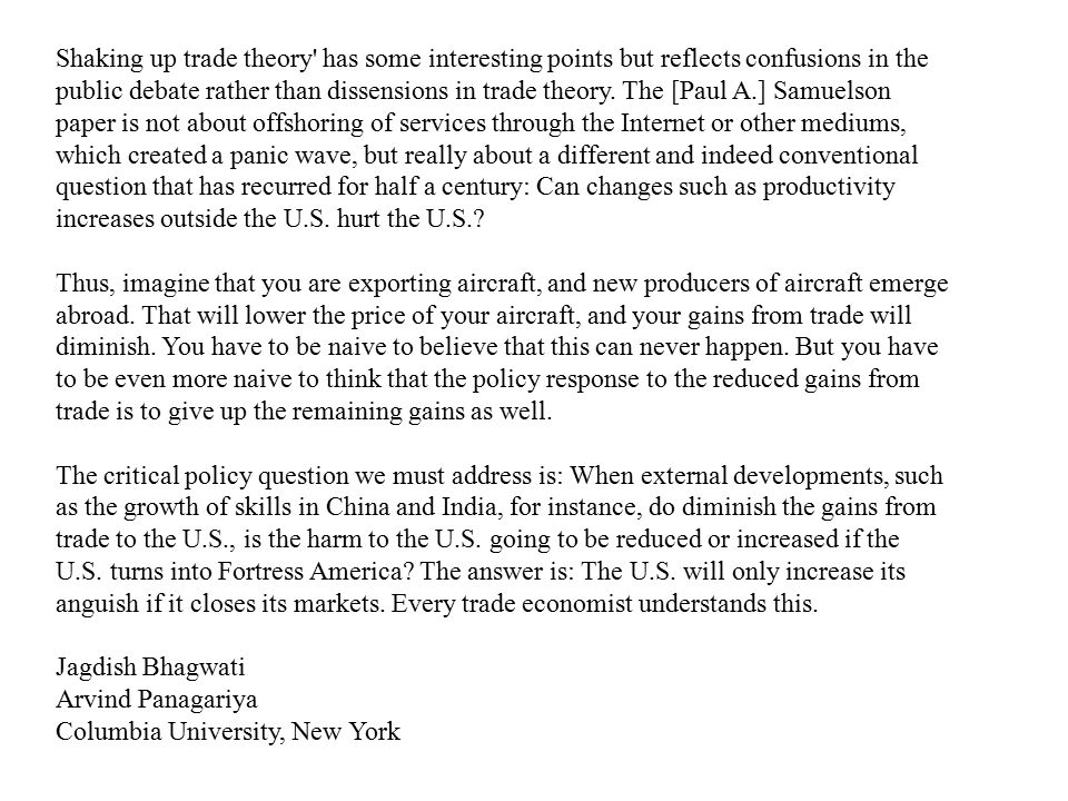 Shaking up trade theory has some interesting points but reflects confusions in the public debate rather than dissensions in trade theory.