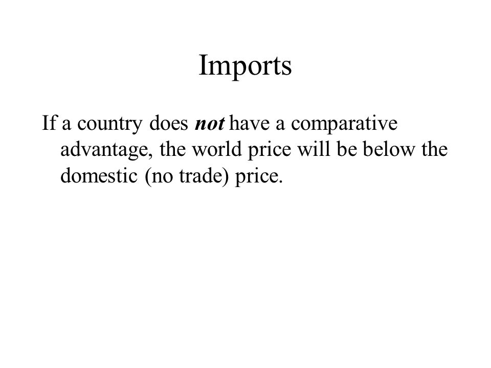 Imports If a country does not have a comparative advantage, the world price will be below the domestic (no trade) price.