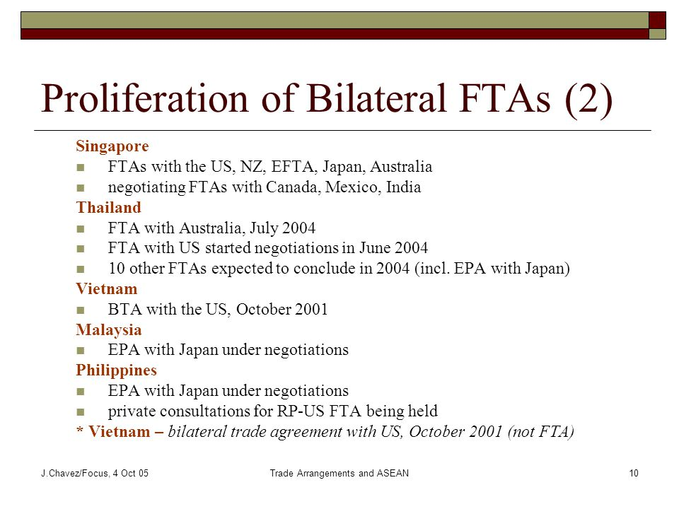 J.Chavez/Focus, 4 Oct 05Trade Arrangements and ASEAN10 Proliferation of Bilateral FTAs (2) Singapore FTAs with the US, NZ, EFTA, Japan, Australia negotiating FTAs with Canada, Mexico, India Thailand FTA with Australia, July 2004 FTA with US started negotiations in June 2004 10 other FTAs expected to conclude in 2004 (incl.