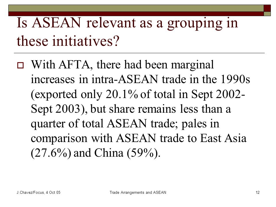 J.Chavez/Focus, 4 Oct 05Trade Arrangements and ASEAN12 Is ASEAN relevant as a grouping in these initiatives.