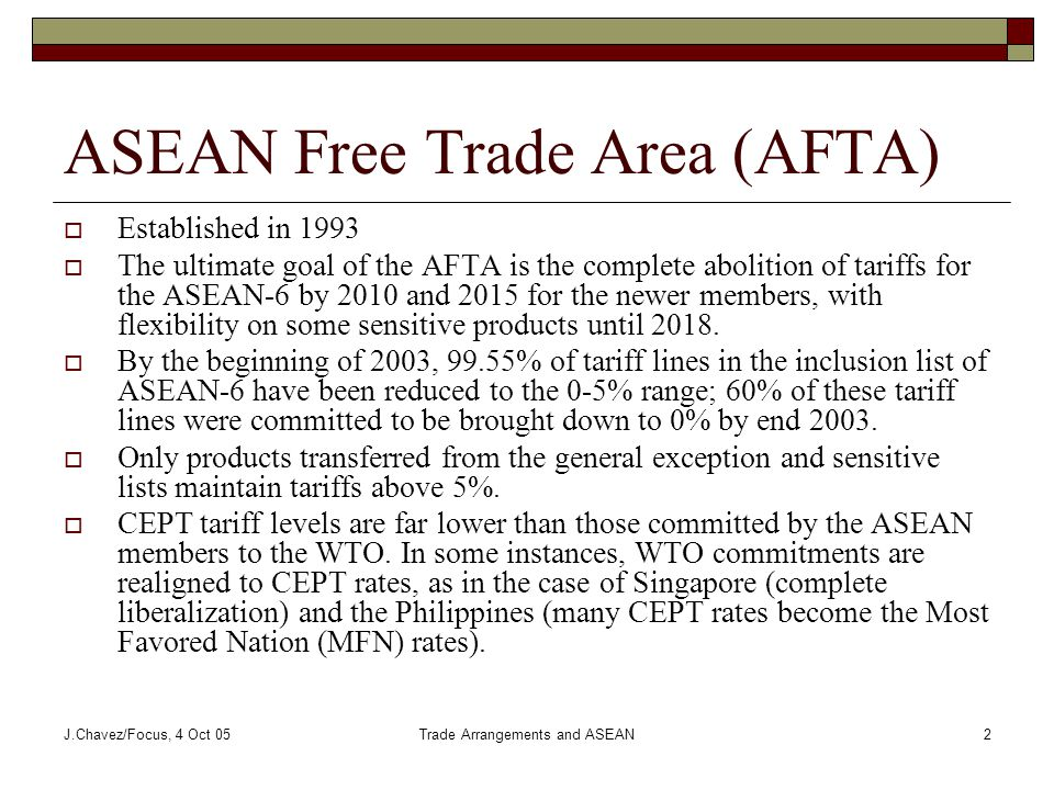 J.Chavez/Focus, 4 Oct 05Trade Arrangements and ASEAN2 ASEAN Free Trade Area (AFTA)  Established in 1993  The ultimate goal of the AFTA is the complete abolition of tariffs for the ASEAN-6 by 2010 and 2015 for the newer members, with flexibility on some sensitive products until 2018.