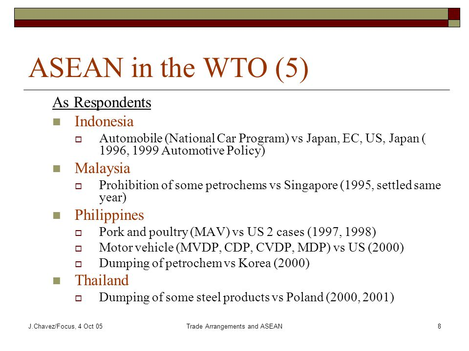 J.Chavez/Focus, 4 Oct 05Trade Arrangements and ASEAN8 ASEAN in the WTO (5) As Respondents Indonesia  Automobile (National Car Program) vs Japan, EC, US, Japan ( 1996, 1999 Automotive Policy) Malaysia  Prohibition of some petrochems vs Singapore (1995, settled same year) Philippines  Pork and poultry (MAV) vs US 2 cases (1997, 1998)  Motor vehicle (MVDP, CDP, CVDP, MDP) vs US (2000)  Dumping of petrochem vs Korea (2000) Thailand  Dumping of some steel products vs Poland (2000, 2001)