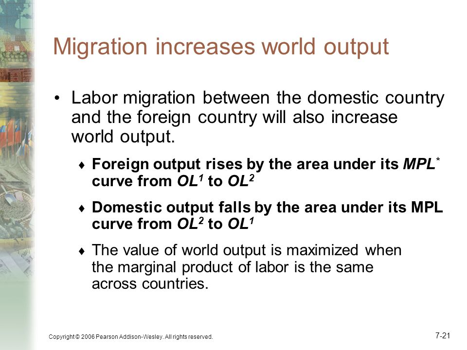 Copyright © 2006 Pearson Addison-Wesley. All rights reserved. 7-21 Migration increases world output Labor migration between the domestic country and t