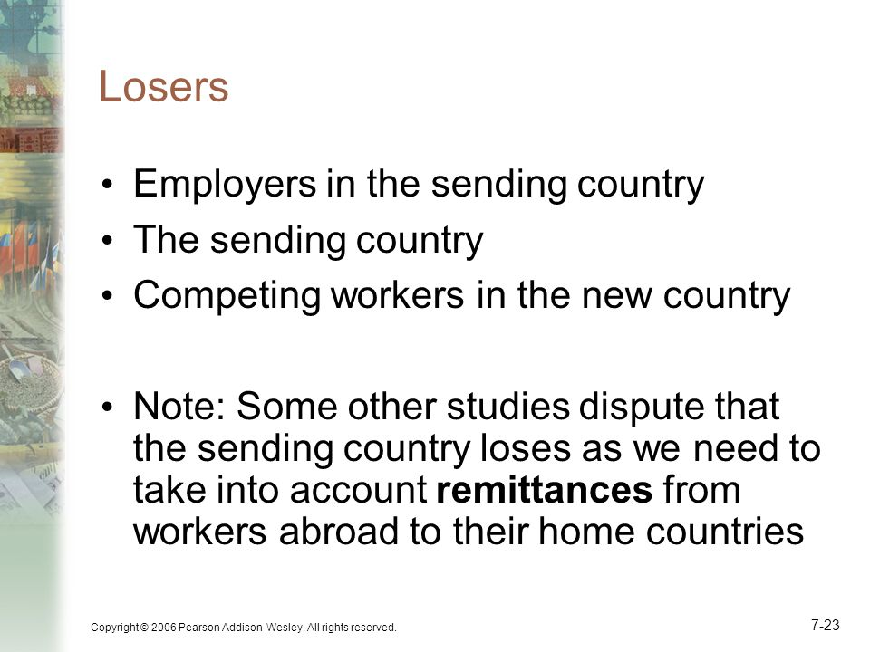 Copyright © 2006 Pearson Addison-Wesley. All rights reserved. 7-23 Losers Employers in the sending country The sending country Competing workers in th