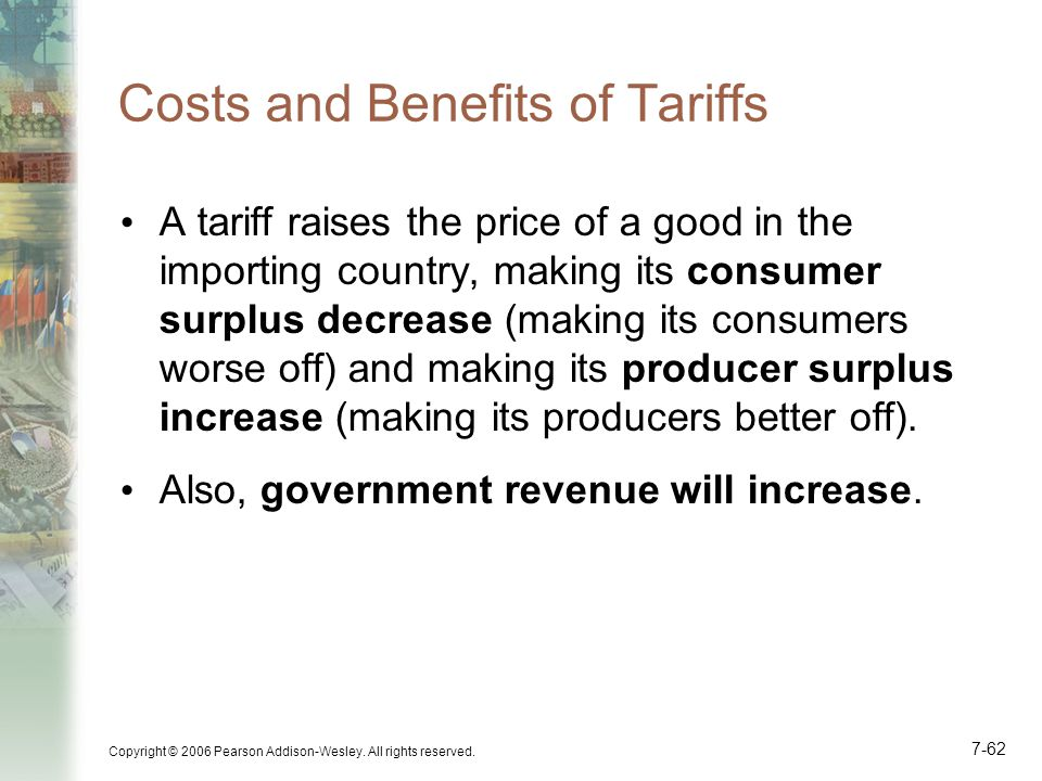 Copyright © 2006 Pearson Addison-Wesley. All rights reserved. 7-62 Costs and Benefits of Tariffs A tariff raises the price of a good in the importing