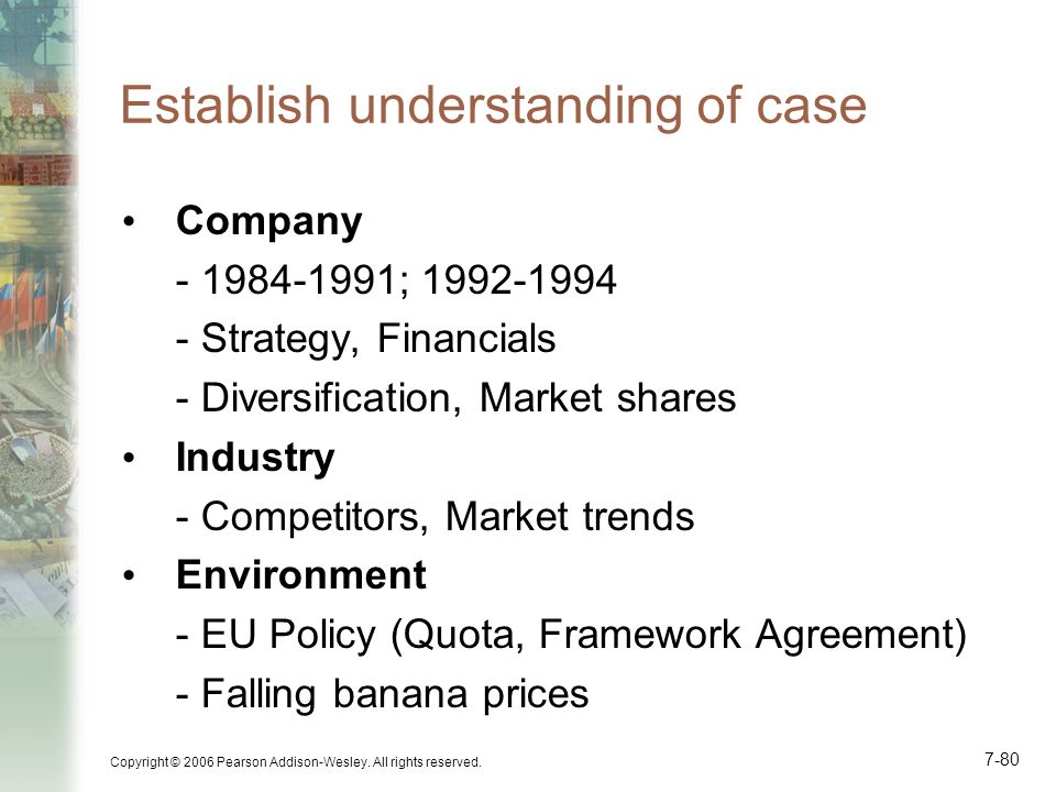 Copyright © 2006 Pearson Addison-Wesley. All rights reserved. 7-80 Establish understanding of case Company - 1984-1991; 1992-1994 - Strategy, Financia