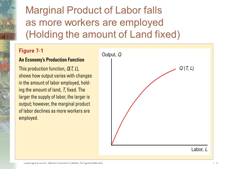 Copyright © 2006 Pearson Addison-Wesley. All rights reserved. 7-9 Marginal Product of Labor falls as more workers are employed (Holding the amount of