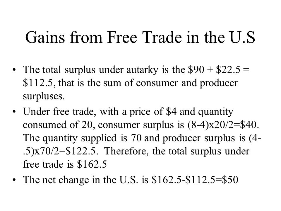 Gains from Free Trade in the U.S The total surplus under autarky is the $90 + $22.5 = $112.5, that is the sum of consumer and producer surpluses.