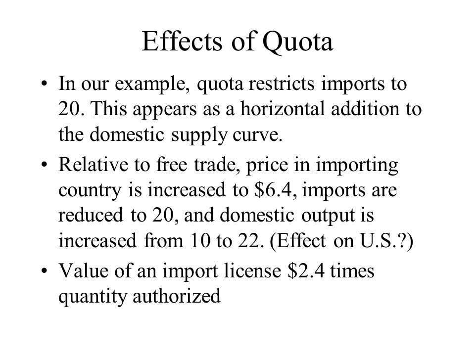 Effects of Quota In our example, quota restricts imports to 20.