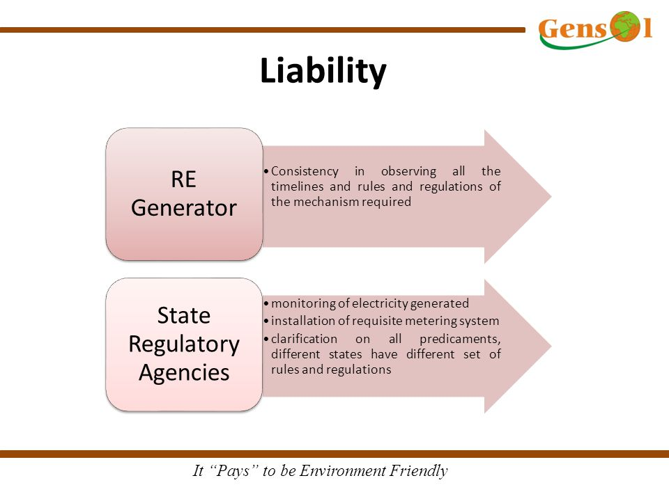 It Pays to be Environment Friendly Liability Consistency in observing all the timelines and rules and regulations of the mechanism required RE Generator monitoring of electricity generated installation of requisite metering system clarification on all predicaments, different states have different set of rules and regulations State Regulatory Agencies