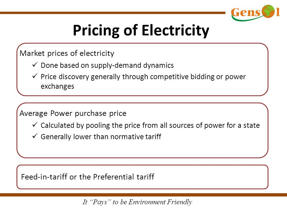 It Pays to be Environment Friendly Pricing of Electricity Market prices of electricity Done based on supply-demand dynamics Price discovery generally through competitive bidding or power exchanges Average Power purchase price Calculated by pooling the price from all sources of power for a state Generally lower than normative tariff Feed-in-tariff or the Preferential tariff