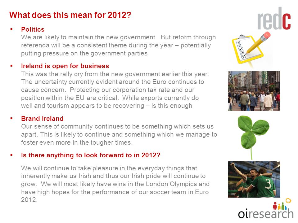 8.8. What does this mean for 2012.  Politics We are likely to maintain the new government.