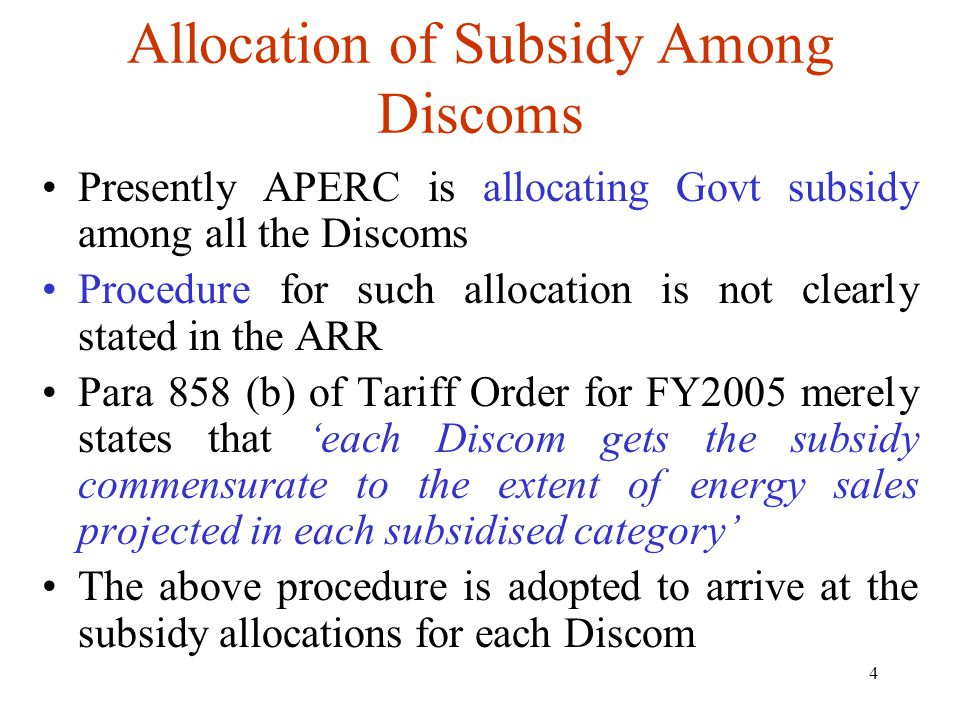 5 Allocation of Subsidy Among Discoms DiscomSubsidy(cr) As per Para 858(b) Subsidy as per ERC(cr) Excess/Less (cr) EPDCL187.84194.386.54 CPDCL524.22464.30(-)59.92 SPDCL319.43334.0514.62 NPDCL271.41310.5439.13