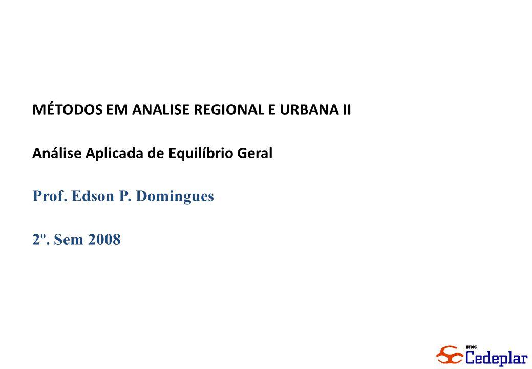 1 MÉTODOS EM ANALISE REGIONAL E URBANA II Análise Aplicada de Equilíbrio Geral Prof. Edson P. Domingues 2º. Sem 2008
