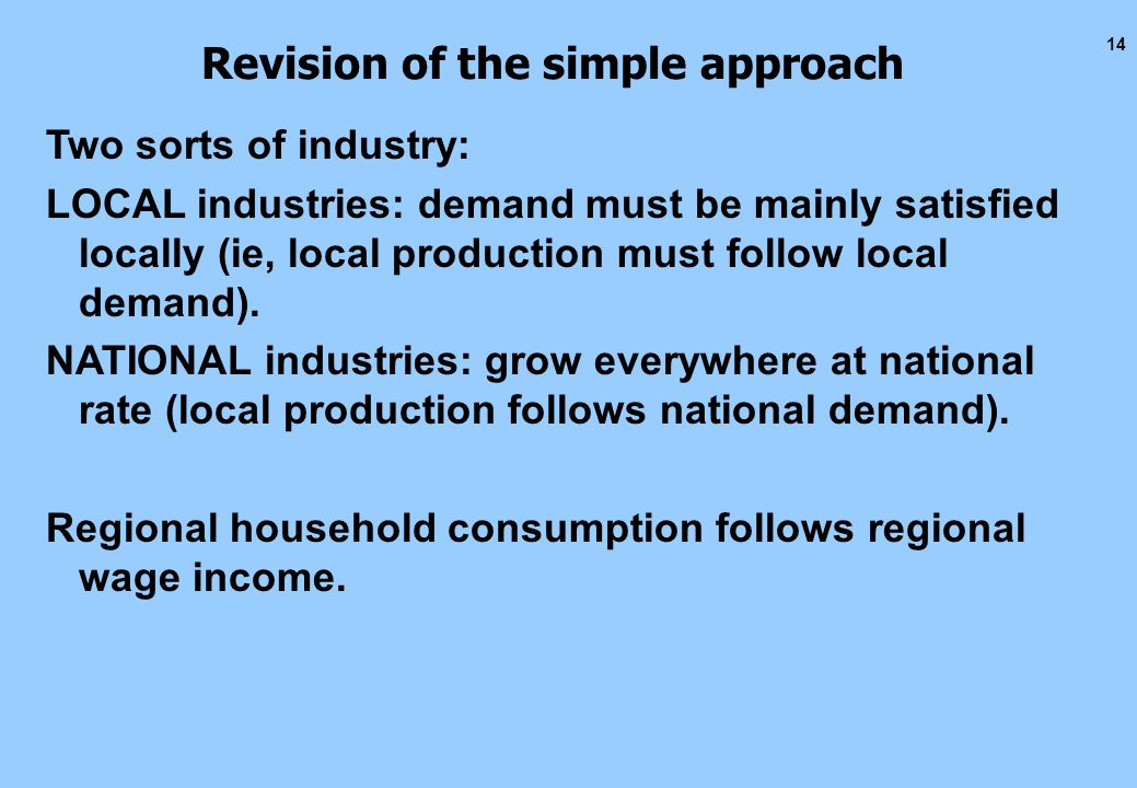 14 Revision of the simple approach Two sorts of industry: LOCAL industries: demand must be mainly satisfied locally (ie, local production must follow local demand).