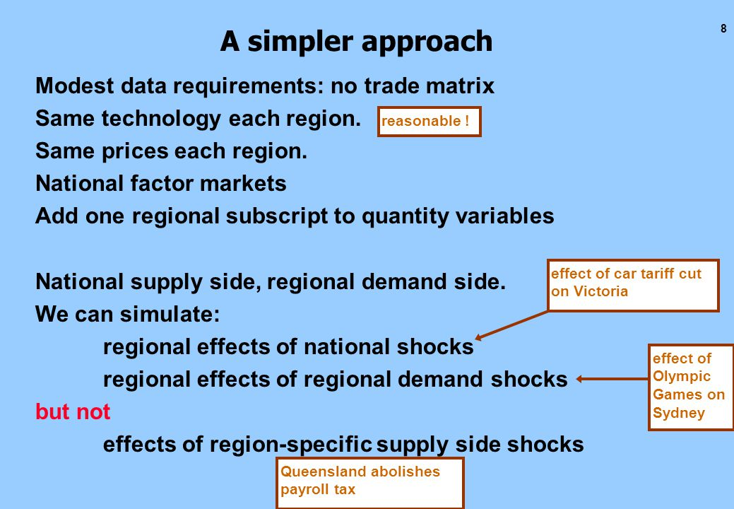 8 A simpler approach Modest data requirements: no trade matrix Same technology each region.