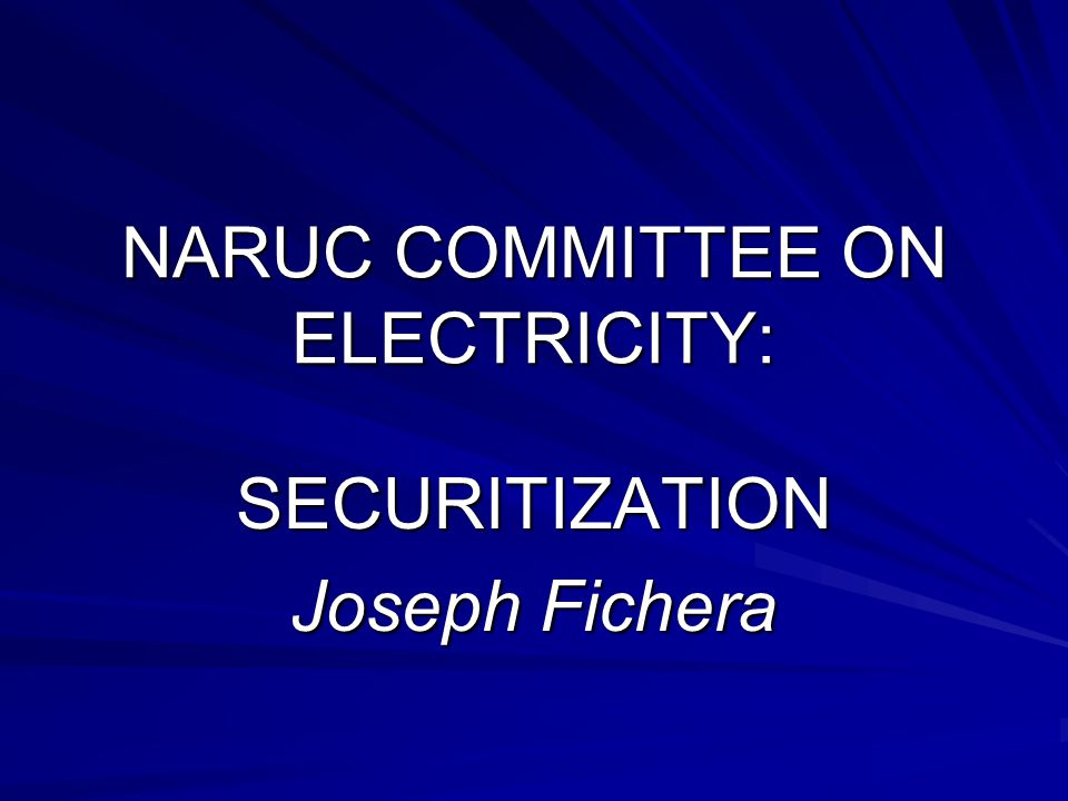 SECURITIZATION Joseph Fichera