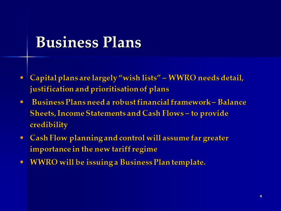 """4 Business Plans Capital plans are largely """"wish lists"""" – WWRO needs detail, justification and prioritisation of plansCapital plans are largely """"wish"""