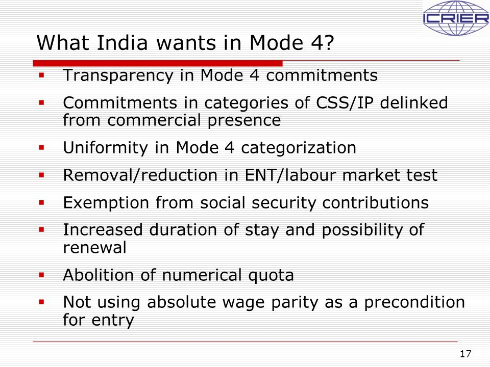 17 What India wants in Mode 4.
