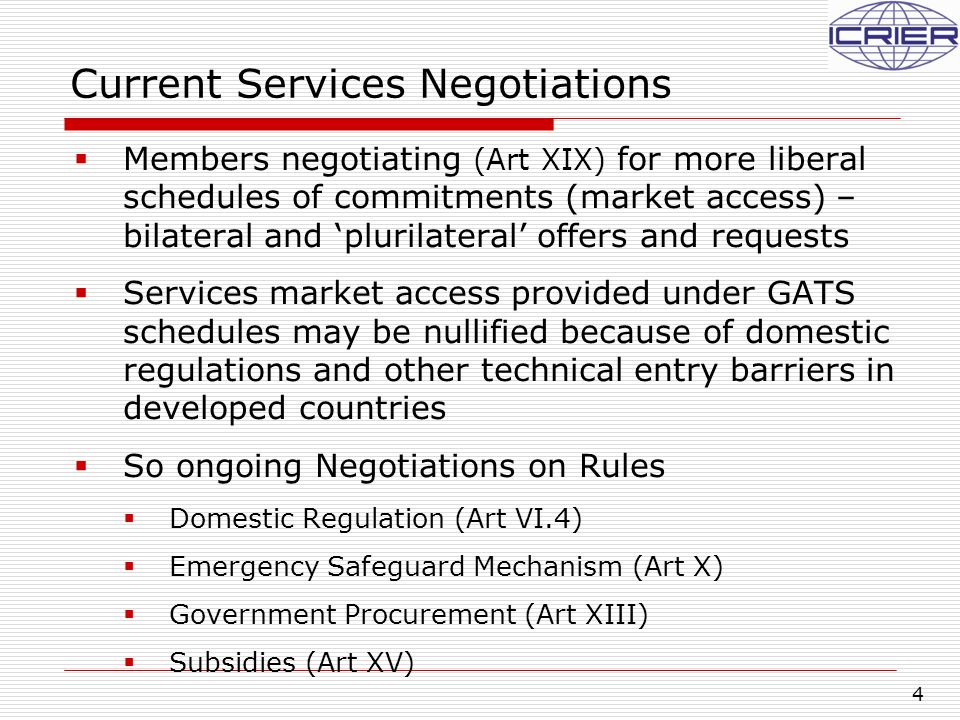 5 Current Services Negotiations, contd…  Pursuant to the Doha mandate, participants in the services negotiations have been exchanging bilateral initial requests since 30 June 2002  Since 31 March 2003, Members have submitted 69 initial offers; Since 19 May 2005, 30 Members have submitted revised offers (incl.