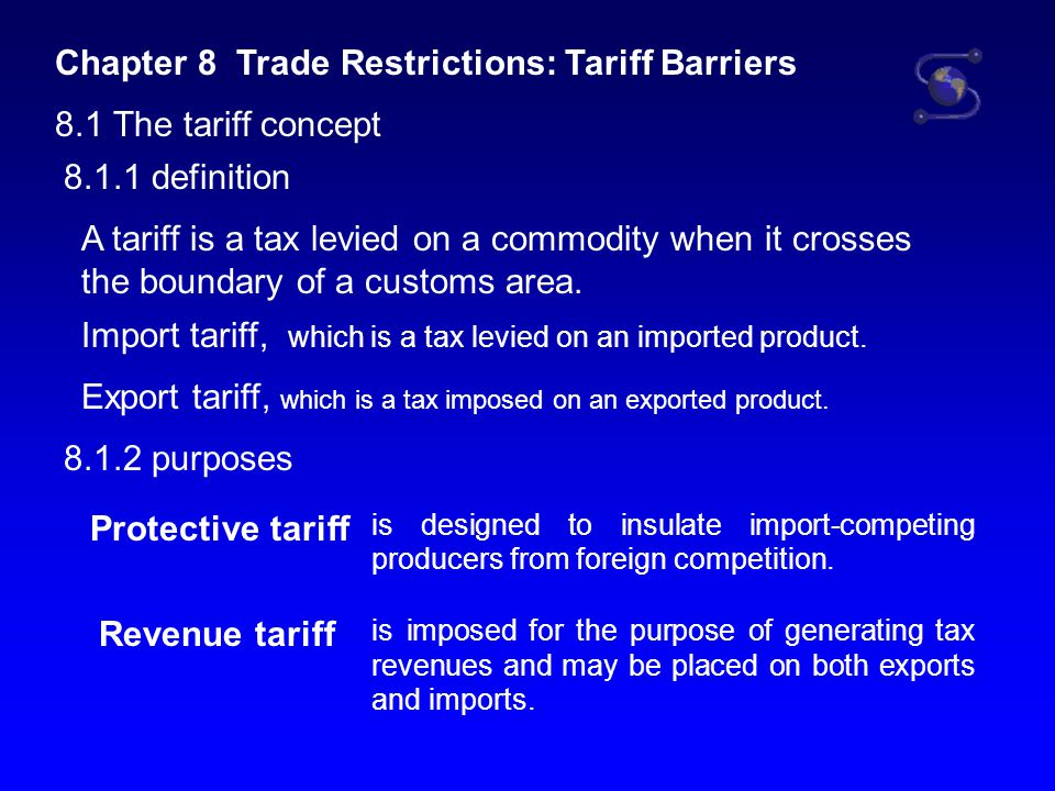 8.1.3 Means of Collecting Tariffs specific tariff a fixed amount of money per physical unit of the imported product.