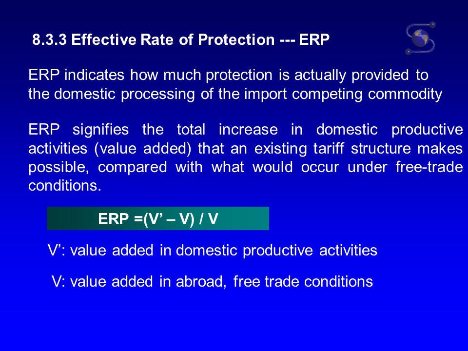 ERP =(V' – V) / V V' = (P2 + C2) – (P1 + C1) P2: price of final product C2: amount of import duty of final product P1: price of input C1: amount of import duty of input V = P2 – P1 So, ERP = (P2 + C2) – (P1 + C1) – (P2 – P1) P2 – P1 =(C2 –C1) / (P2 – P1)