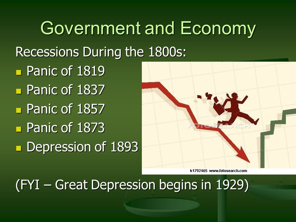 Government and Economy Recessions During the 1800s: Panic of 1819 Panic of 1819 Panic of 1837 Panic of 1837 Panic of 1857 Panic of 1857 Panic of 1873