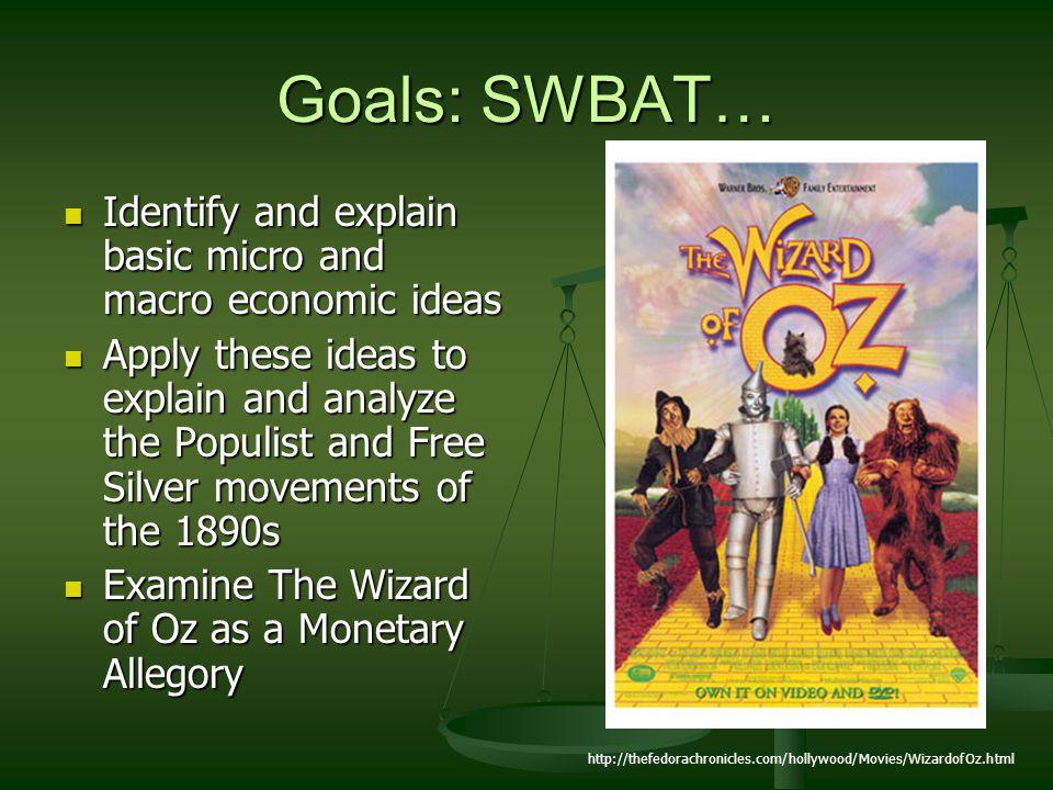 Goals: SWBAT… Identify and explain basic micro and macro economic ideas Identify and explain basic micro and macro economic ideas Apply these ideas to