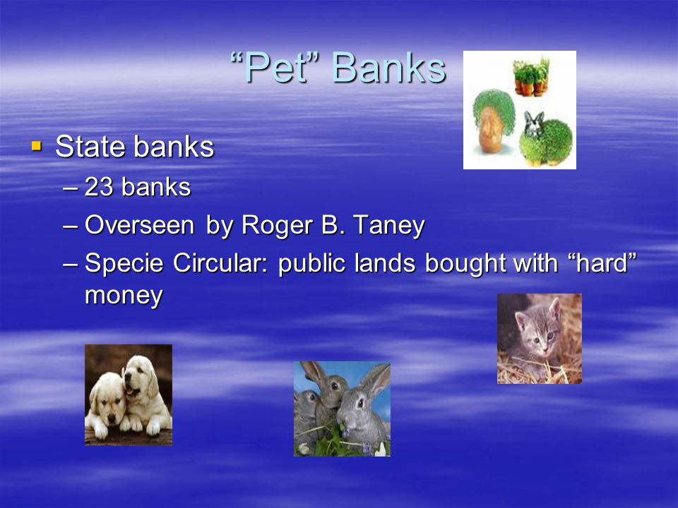 """Pet"" Banks  State banks –23 banks –Overseen by Roger B. Taney –Specie Circular: public lands bought with ""hard"" money"