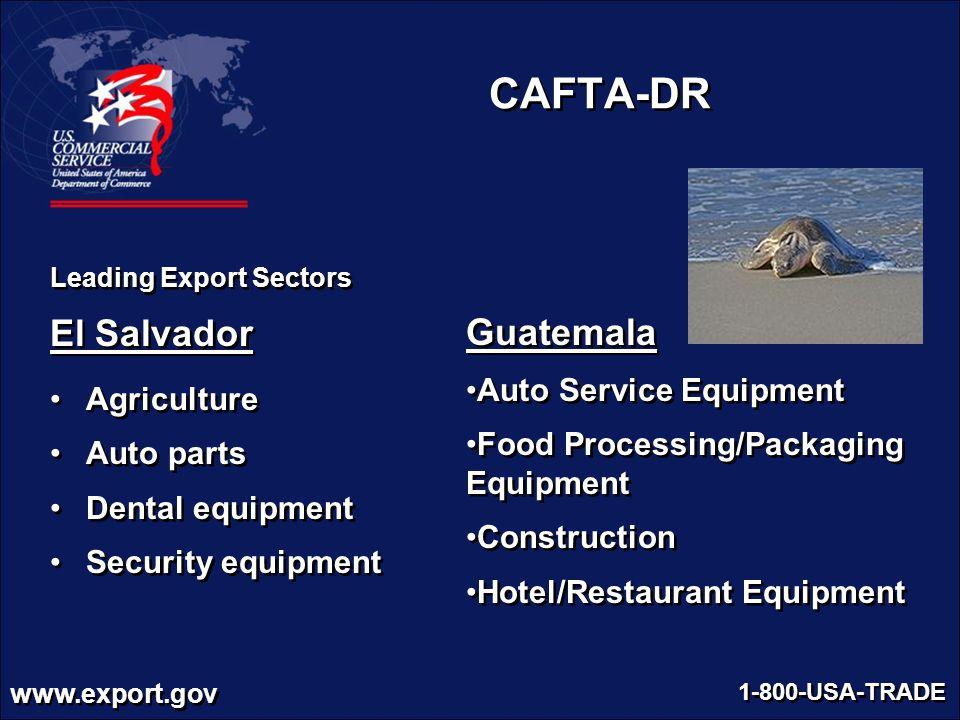 www.export.gov 1-800-USA-TRADE Guatemala Auto Service Equipment Food Processing/Packaging Equipment Construction Hotel/Restaurant Equipment Guatemala