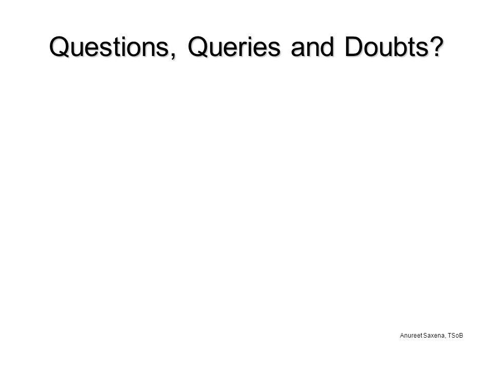Anureet Saxena, TSoB Questions, Queries and Doubts