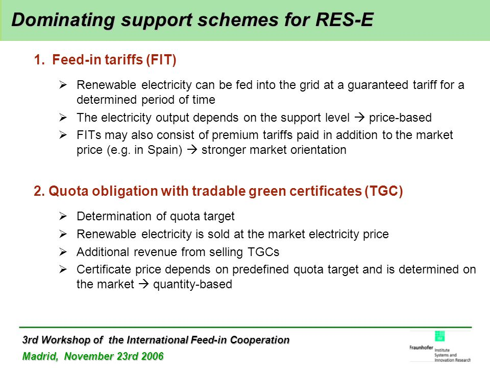 3rd Workshop of the International Feed-in Cooperation Madrid, November 23rd 2006 Dominating support schemes for RES-E Dominating support schemes for RES-E 1.Feed-in tariffs (FIT)  Renewable electricity can be fed into the grid at a guaranteed tariff for a determined period of time  The electricity output depends on the support level  price-based  FITs may also consist of premium tariffs paid in addition to the market price (e.g.