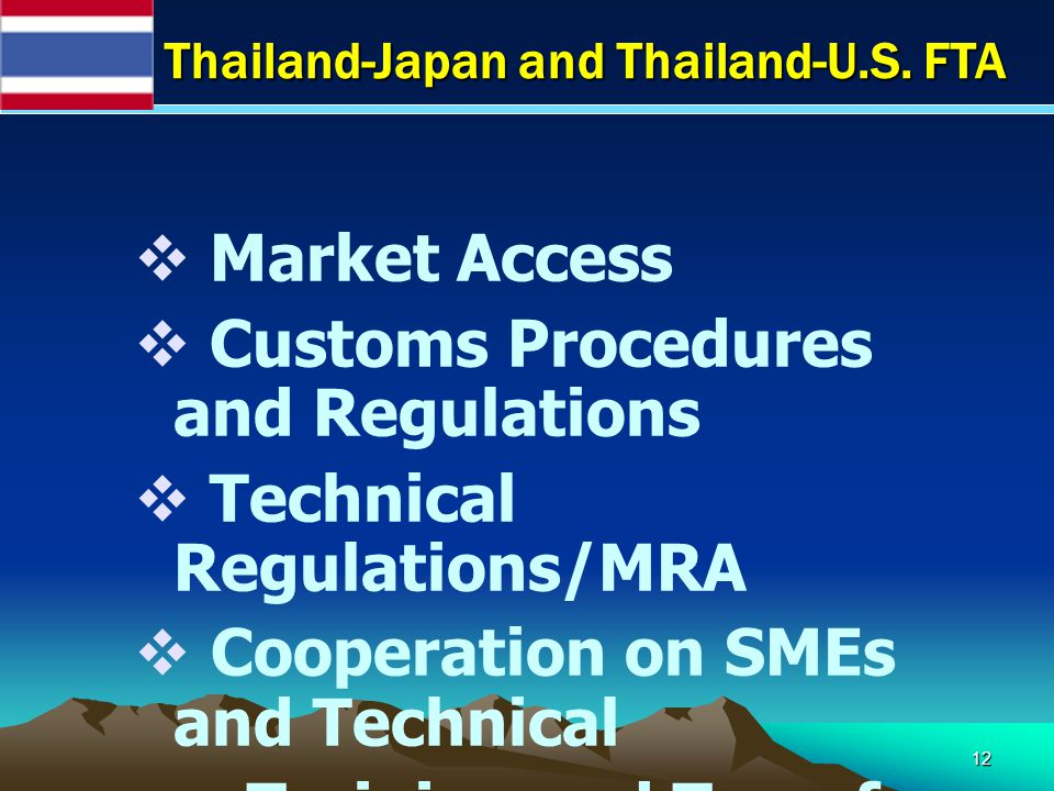 12  Market Access  Customs Procedures and Regulations  Technical Regulations/MRA  Cooperation on SMEs and Technical Training and Transfer Thailand-Japan and Thailand-U.S.