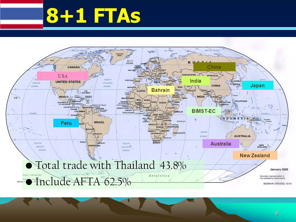 6 8+1 FTAs Peru Japan Australia New Zealand BIMST-EC China India Bahrain USA Total trade with Thailand 43.8% Total trade with Thailand 43.8% Include AFTA 62.5% Include AFTA 62.5%