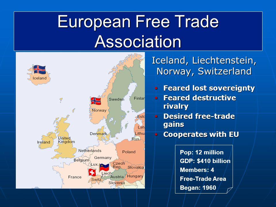 European Free Trade Association Iceland, Liechtenstein, Norway, Switzerland  Feared lost sovereignty  Feared destructive rivalry  Desired free-trad
